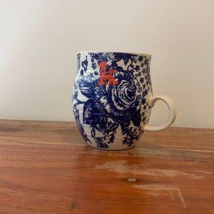 """Anthropologie Homegrown Mug Blue Monogramed """"K"""""""